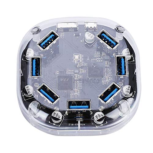 Dilwe 7 Puertos Hub USB Multifuncional Portatil,7 en 1 Concentrador USB 3.0 Type-A Transparente, 5GBPS Alta Velocidad Adaptador Multipuerto Concentrador con Luz Indicadora para Windows/OS/Linux