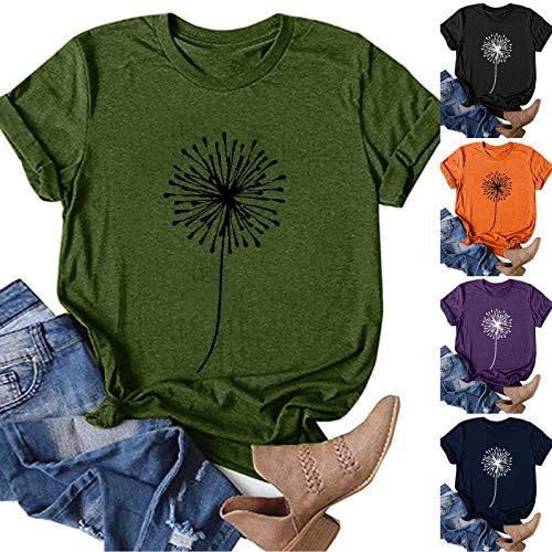 MEIYOUMK Tshirt Damen Mädchen 3D Lustig Gedruckt Rundhals Kurzarm Oberteile Hemd Tops Bluse Sommer Grafik Drucken Sommer Tee Tops Female Teenager Mädchen