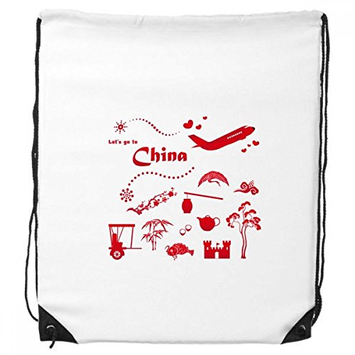 Laten we naar China Bamboe Lantaarn Peacock Plane Theepot Boom Trekkoord Rugzak Winkelen Sport Tassen Gift