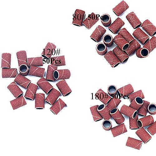 Yeemeen Levigatura Bande per Pedicure del Manicure del Trivello del Unghie Macchina Bande di Levigatura Cilindri Abrasivi per Fresa Unghie Accessori per Nastri Abrasivi 80# 120# 180# Ogni Formato 50PZ