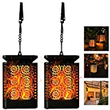 Hanging Solar Lantern Outdoor Lights, 2pack Patio Decor Lanterns with Diamont Flickering Dancing Flame, Waterproof Solar Powered LED Lantern Decorative Lights for Patio Yard Garden Table Decorations