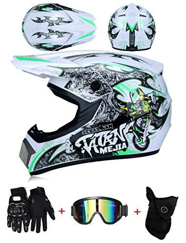 LZSH Casco de moto casco de motocross profesional, casco de cross, MTB, casco infantil, casco con gafas/guantes/máscara, ECE homologado adultos niños quad bike ATV go-kart-helm (C,S: 55-56 cm)