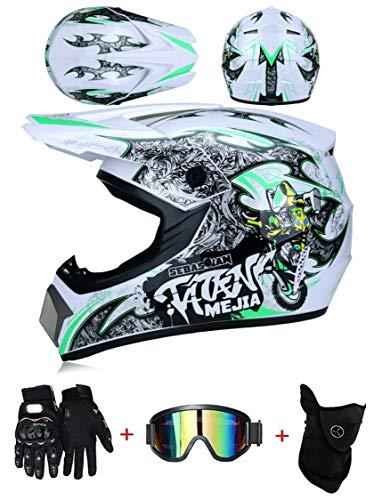 LZSH Casco de moto casco de motocross profesional, casco de cross, MTB, casco infantil, casco con gafas/guantes/máscara, ECE homologado adultos niños quad bike ATV go-kart-helm (C,XL: 61-62 cm)