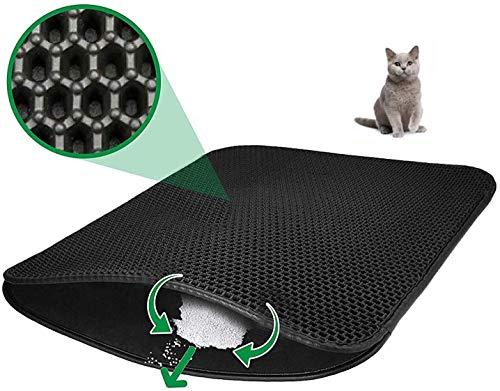 OOTO Katzenstreu Matte Waben Design Doppelschicht Katzenmatte Hundematte Katzentoilette Groß 60 x 45cm Wasserdicht Ungiftig Geruchlos Katzenklo Selbstreinigend (Schwarz)