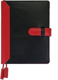 (シールアル) 本革手帳カバー A6サイズ 文庫本サイズ ベルトつき 革 レザー バイカラー CLuaR-TC (01.ブラック)