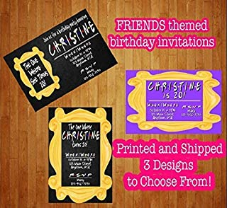 Set of 12 Friends TV Show Birthday Invitations The One Where She He Turns Any Age Custom Personalized Free Envelopes Printed and Shipped