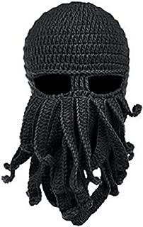 Herebuy8 Octopus Winter Warm Knitted Wool Ski Face Mask Knit Beard Squid Beanie Hat Cap