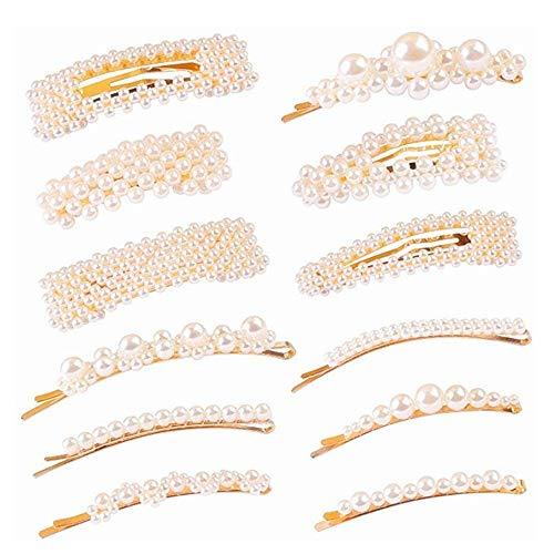 Lazz1on 12 Stücke Haarspangen Perle Haarklammer Geometrische Haarnadeln Haar Klammer Mädchen Damen Snap Clips Haarschmuck