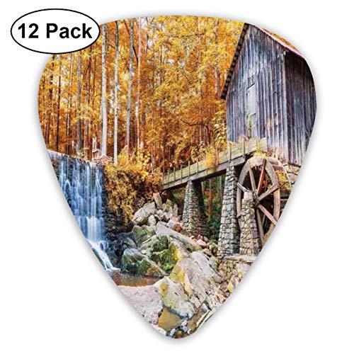 Guitar Picks Herbstsaison Bild der historischen Wassermühle und Wasserfall Naturkunst im Freien, für Bass Electric Acoustic Guitars-12 Pack