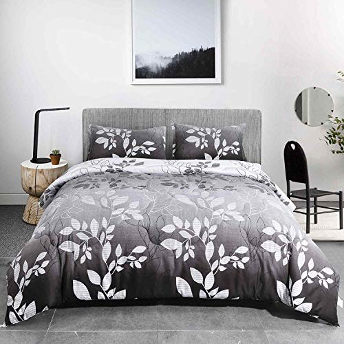 NANKO Queen Comforter Set 3pc, Grey Leaf Floral Reversible Down Alternative Microfiber Bedding Comforters - All Season Duvet and 2 Pillowshams Bed Sets for Women, Men Size 88 x 90 Gray Flower