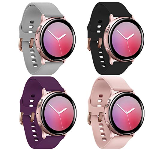 watch with pink bands PROSRAT Galaxy Active 2 Watch Bands with Rose Gold Buckle,4-Pack Sports Wristband for Galaxy Watch Active/Active2 40mm/44mm,Galaxy Watch 42mm for Women Gift (Black/Gray/Rose Pink/Purple, Small)