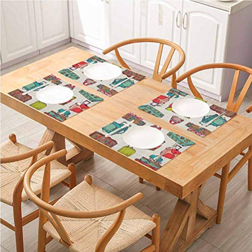 FloraGrantnan Dining Table Decoration Placemats Table Mats, Doodle Colorful Suitcases Holiday Inspired Design Travelling Abroad Vintage Style, Kitchen Table Mats Easy to Clean, Set of 6