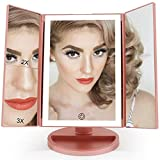 FASCINATE Makeup Mirror with lights 36 LED 3X 2X 1X Magnifying Trifold Vanity Mirror Dimmable Lighted Tabletop Mirror Touch Screen 180° Rotation Light up Countertop Cosmetic Mirror