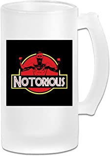 Printed 16oz Frosted Glass Beer Stein Mug Cup - Jurassic Conor McGregor - Graphic Mug