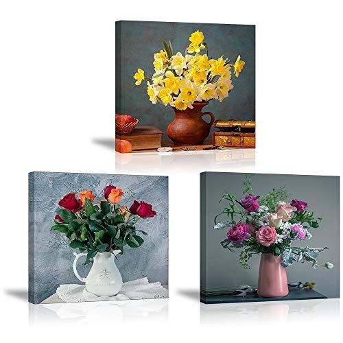PIY Painting Cuadro Sobre Lienzo Imagen Jonquille Fleurs Pintura Canvas Roses Colorées Elegantes Wall Art con Seguridad Impresión de la Lona Dibujar Para Sala Comedor Cocina Regalo Navidad 3X