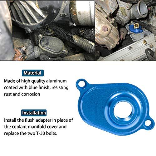6.0L Powerstroke Oil Cooler Flush Kit with Blue Aluminum Flush Adapter for Ford 2003-2010 Diesel