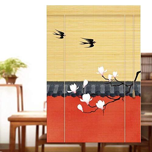 Bamboe Rolgordijn Rolgordijn Bamboe Vouwgordijnen Houten Rolgordijnen - Perzik Bloesem En Vliegende Zwaluw Rolgordijnen Met Volant Wandmontage Balkon Decor (Maat: 90X180CM)