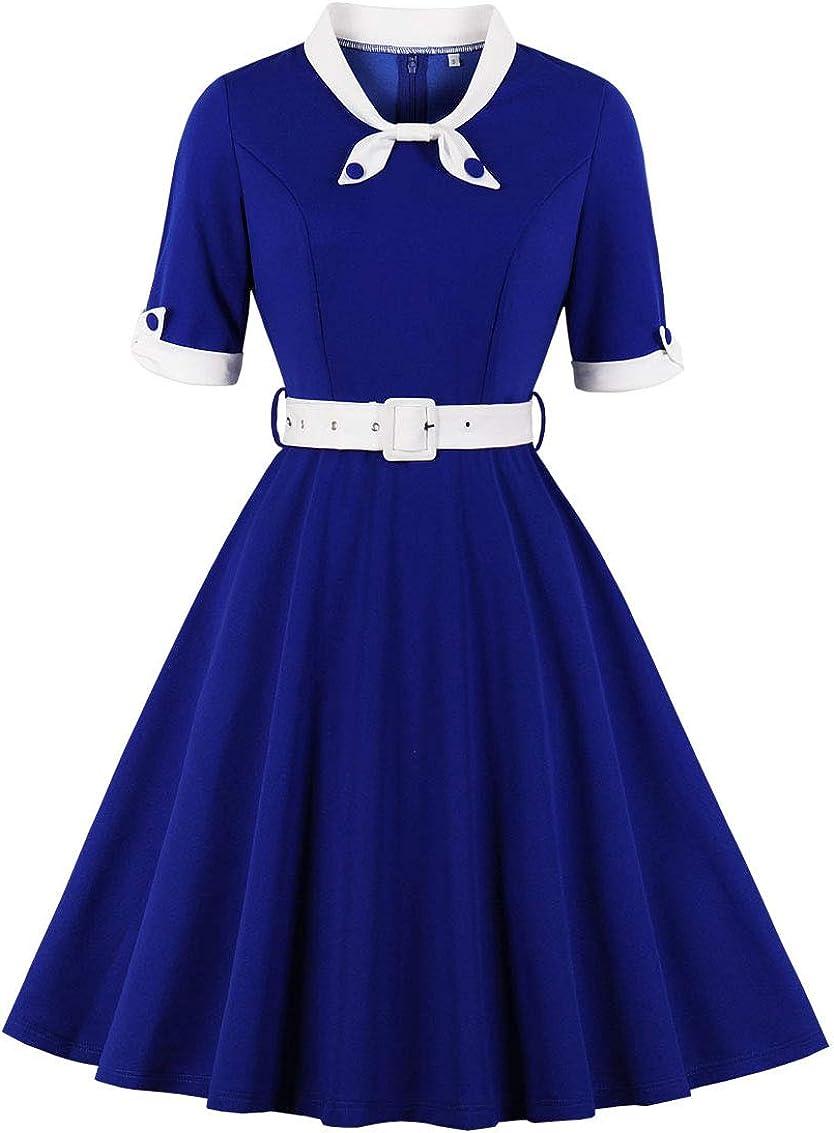 Nihsatin Women's Audrey Hepburn Vintage Style Rockabilly Swing Dress…