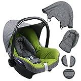 BAMBINIWELT Ersatzbezug für Maxi-Cosi CabrioFix 6-tlg. GRAU/HELLGRÜN, Bezug für Babyschale, Komplett-Set XX