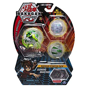 Bakugan Starter Pack 3-Pack Diamond Maxotaur Collectible Transforming Creatures for Ages 6 and Up