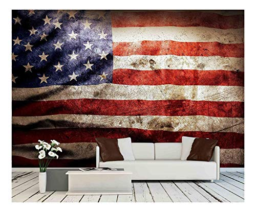 wall26 - Closeup of Grunge American Flag - Removable Wall Mural | Self-Adhesive Large Wallpaper - 100x144 inches