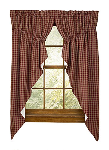 "Sturbridge Park Designs 72""x 63"" Wine Prairie Curtains"