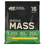 Optimum Nutrition Serious Mass, Mass Gainer avec Whey, Proteines Musculation Prise de Masse avec Vitamines, Creatine et Glutamine, Banane, 16 Portions, 5.45kg, l'Emballage Peut Varier