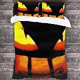 Juego de sábanas de 3 piezas de Halloween con cierre de cremallera y linterna de calabaza súper suave (1 juego de funda de edredón, 2 fundas de almohada) C10147