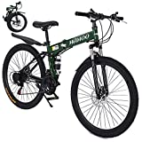 Micozy Bike,26 Inch High-Carbon Steel Full Suspension Mountain Bike 21...