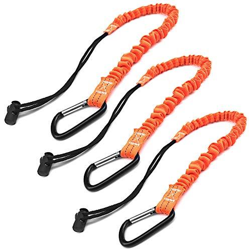 Werkzeug-Lanyard, Schnellspanner, stoßdämpfend, Sicherheits-Trageband, einziehbares Bungee-Seil mit Karabiner-Clip und verstellbarem Schlaufenende, 15 lb Arbeitsbegrenzung, Fallschutzausrüstung