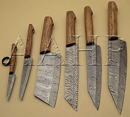 AAHP - 90 , 12.5, 11.5, 11, 10, 8.5, 6 Inches Chef Knife set with approx 7.5, 6.5, 6.75, 5.75, 4.5, 2.75 inch blades made of 100% Real Damascus Steel, and handle made up of Pakka Wood with Brass Pins