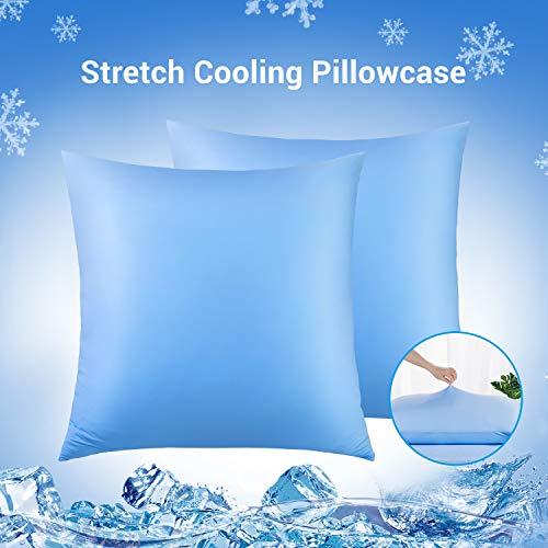 Luxear kühlender Kissenbezug 2er-Set mit japanischen Kühlfasern atmungsaktiv, allergikerfreundliche und vollelastische Kopfkissenbezüge, Haare/Haut schonende Kissenhülle 80 x 80 cm - Blau