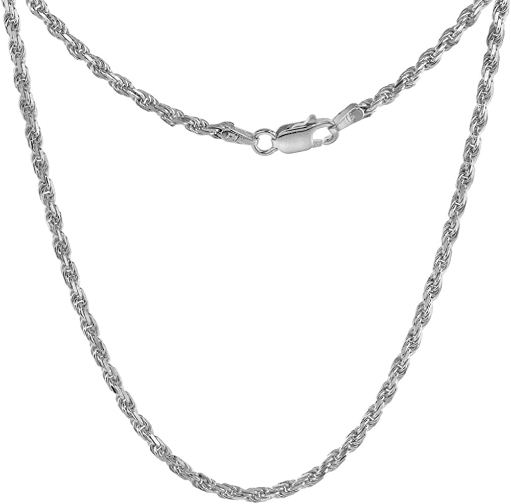 2.2mm Sterling Silver Rope Chain Necklaces  Bracelets for Women