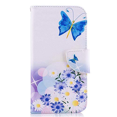 Uposao Kompatibel mit Handyhülle Huawei P20 Handytasche Bunt Muster Handy Hüllen Flip Case Cover Schutzhülle Ledertasche Wallet Lederhülle Etui Bookstyle Klapphülle,Schmetterling Blumen
