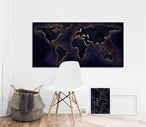 The World Map Night_ Fine Art Fotoabzug 80 x 40 cm – ungerahmt - Kunst, Poster, Plakat, Artwork, Fotografie, Grafik, Einrichtung, Interieur, Geschenk, SKU 105318-velvet