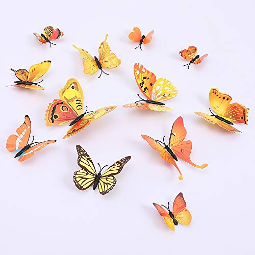 Butterfly Wall Decals 3D Butterflies Wall Stickers DIY Removable Mural Decals Home Decoration Kids Room Bedroom Decor Living Room Decor (Butterfly Yellow)