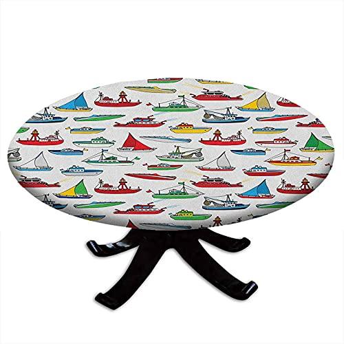 Mantel redondo con bordes elásticos, manojo de buque colorido lancha rápida pesca arrastrero barco motor vehículo acuático, diseño L, 48 pulgadas de diámetro multicolor