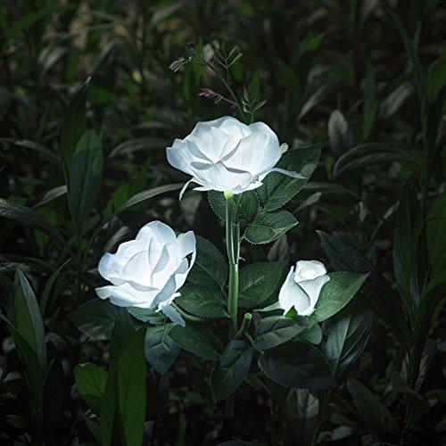 Beleuchtung Außen Solarleuchte Garten, Solar Garten Lampen mit LED Rose Lichter, Dekoration Lichter für den Garten Rasen Terrasse Feld Weg, Weiß