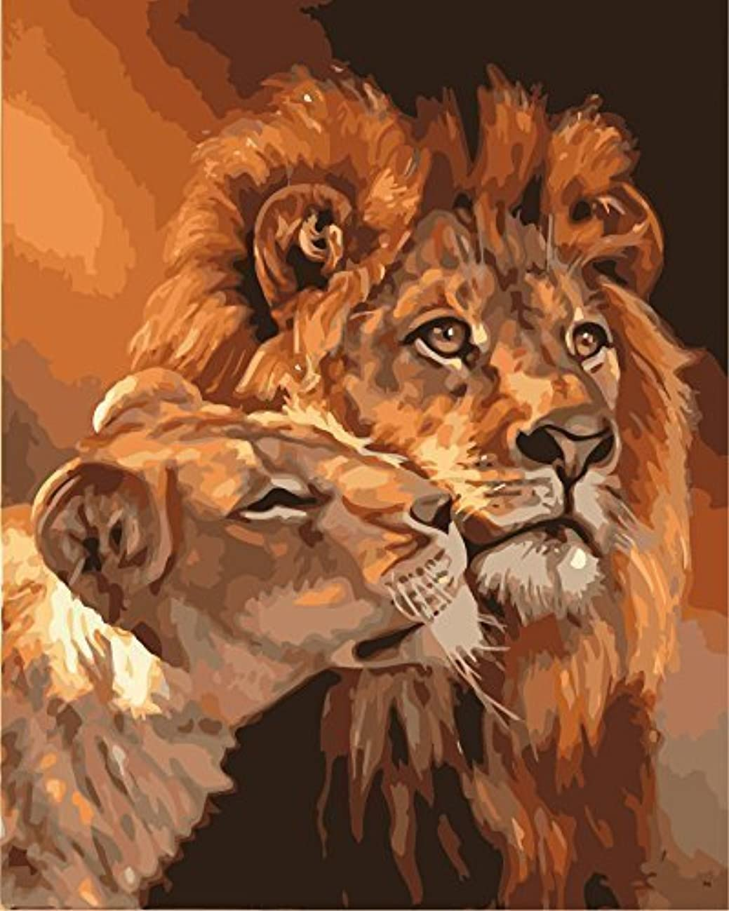MailingArt Wooden Framed Paint by Number Animals No Blending / No Mixing Linen Canvas DIY Painting - Big and Small Lion King