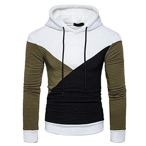 Xmiral Kapuzen-Pullover Herren Patchwork Falten Lose Kapuzensweatshirt Hoodies Kordelzug Slim Fit(XS,Weiß)