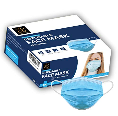 Samadhaan Disposable Mask - Safety Face Mask (Pack of 100) Non Woven Thick 3-Layer Breathable Facial Masks with Adjustable Earloop, Anti Droplets, Mouth and Nose Protection Dust Masks