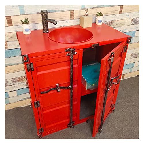 Mueble Lavabo De Bano sobre Encimera, Fregadero De Pedestal De Una Pieza Hierro Forjado 85cm, Lavamanos Bano Estilo Industrial Creativo para Bar, Restaurantes, Galería De Arte(Color:Rojo sin Espejo)