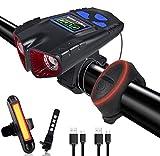 Tihokile Luz de Bicicleta, Luz de Bicicleta con Pantalla LED de Carga USB, Luz de Seguridad de 2000 mAh 500 Lúmenes de lámpara dual, con Bocina y Luz Trasera, Adecuada para Montaña y Carretera
