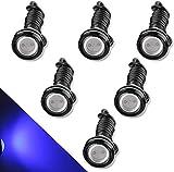 CTRICALVER Luz LED de ojo de águila de 18 mm y 9 W de alta potencia,luz de conducción diurna DRL de motocicleta para coche,luz indicadora de 12 Vresistente al agua (azul, 6 piezas)