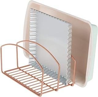 mDesign Soporte para sartenes y tapas de ollas – Compacto organizador de tapas de ollas con 3 apartados para el armario de la cocina – Colgador de sartenes de metal para ahorrar espacio – color bronce