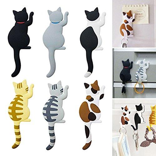 Crewell - Juego de 6 Ganchos magnéticos para Nevera, Diseño de Gato con Dibujos Animados