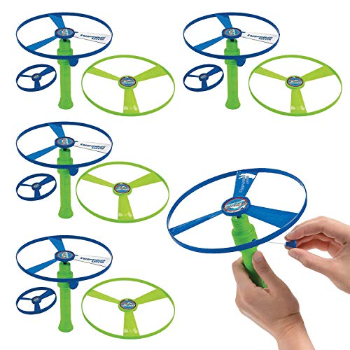 Kicko Flying Saucer Toy Set  4 Packs of 4 Piece Sets 65 Inch Launcher 1 Small Disc and 2 Large Discs  Colors Green and Blue  for Kids' Party Favors Bag Stuffers Fun Toy Prize
