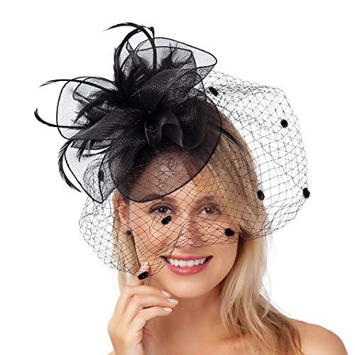 FELIZHOUSE Fascinators Hat Navy Blue Tea Party Headwear with Clip for Wedding Derby Headband Feather Mesh Flower Veil Headpiece for Women Girls