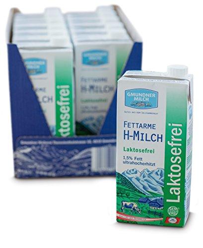GMUNDNER MILCH Laktosefreie Haltbarmilch mit 1,5 % Fett | inkl. Salzkammergut-Kochbuch | 3 Monate ungekühlt haltbar, 12 x 1 L | Lebensmittel aus Österreich
