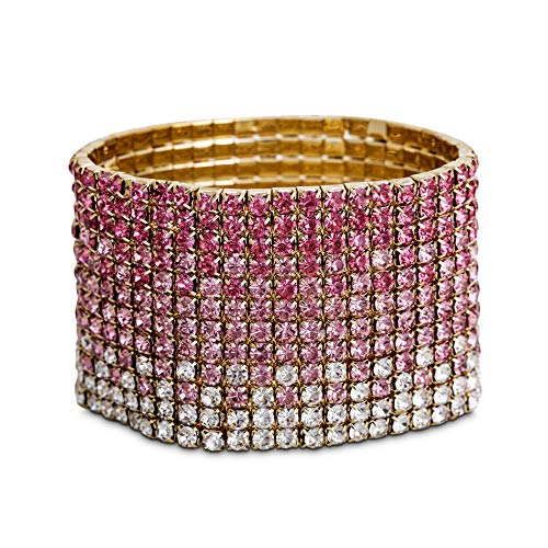 Steve Madden Yellow Gold-Tone Pink Ombre Rhinestone Stretch Bracelet For Women, one side (SMB508789GD)